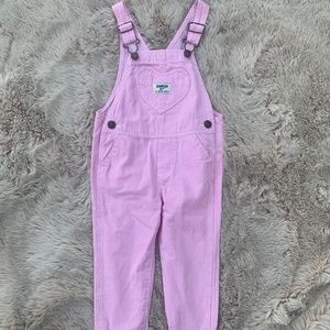 Girls Oshkosh pink stripe overalls 2T